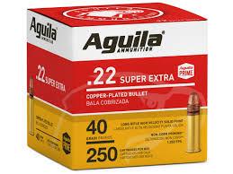 Aguila Super Extra High Velocity Ammunition 22 Long Rifle 40 Grain Plated Lead Round Nose Bulk
