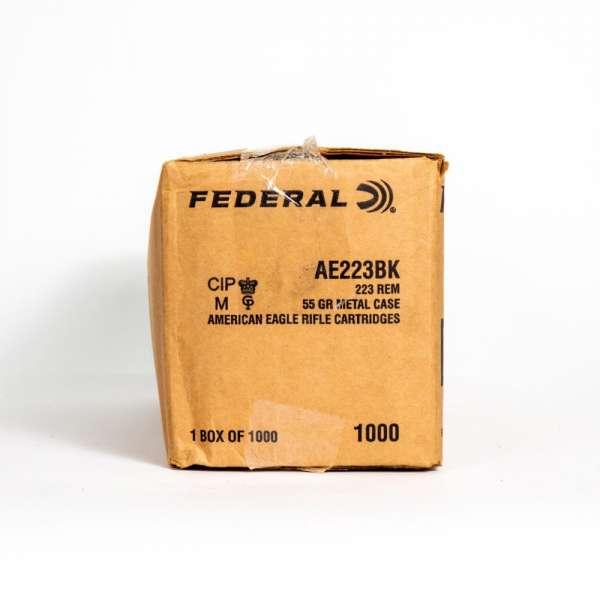 Federal AE223BK 223 Remington 55 Grain FMJ BT Box Side
