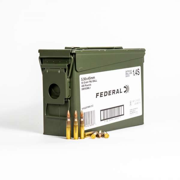 Federal XM193ML1 5.56x45mm 55 Grain FMJ M193 in Ammo Can Front with Label and Rounds