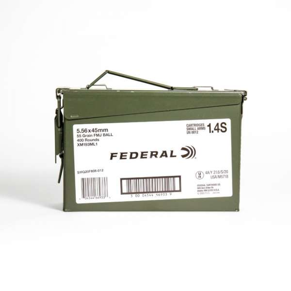 Federal XM193ML1 5.56x45mm 55 Grain FMJ M193 in Ammo Can Side