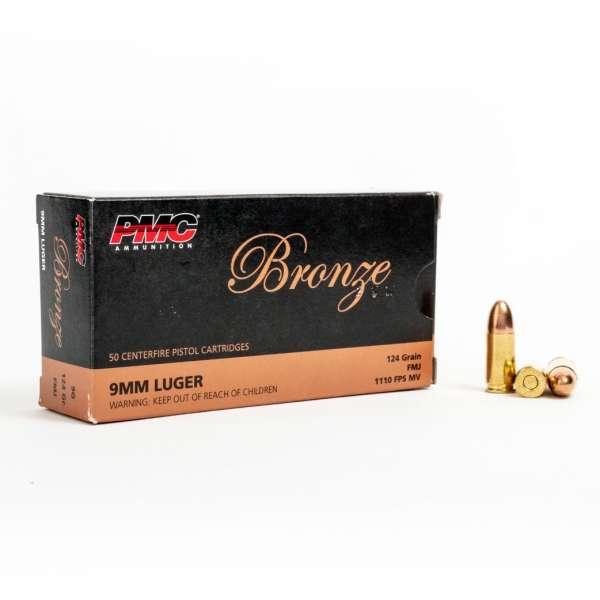 PMC 9G 9mm Luger 124 Grain FMJ Box Front