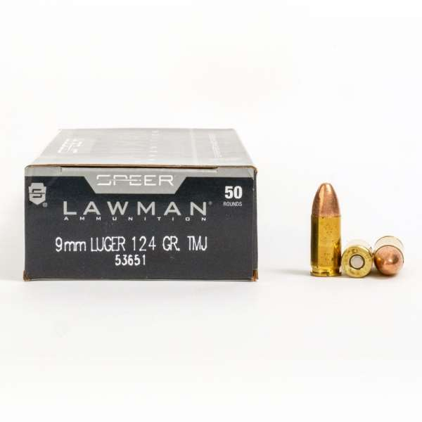 Speer 53651 9mm Luger 124 Grain TMJ Ammo Box Side